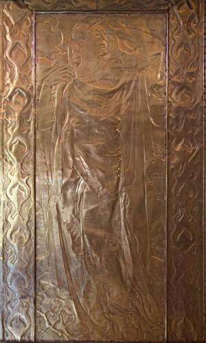 La-Chaux-de-Fonds, crématoire Art Nouveau, porte de cuivre